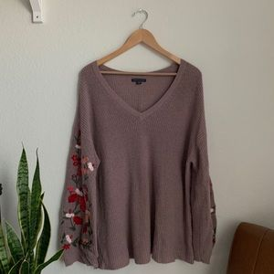 american eagle | embroidered bell sleeve sweater